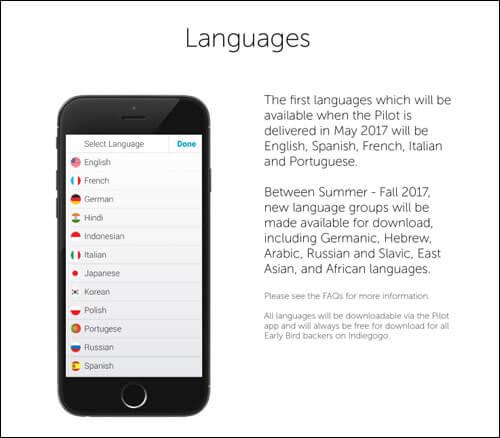 Pilot Earpiece Language Packages