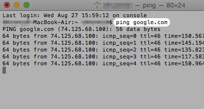Ping Test on Mac Using Terminal