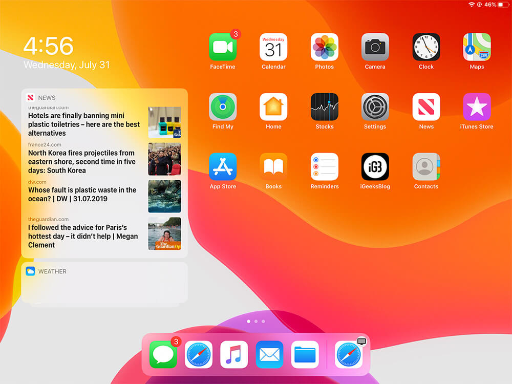 Pinned widgets visible in Today View from iPad Home Screen