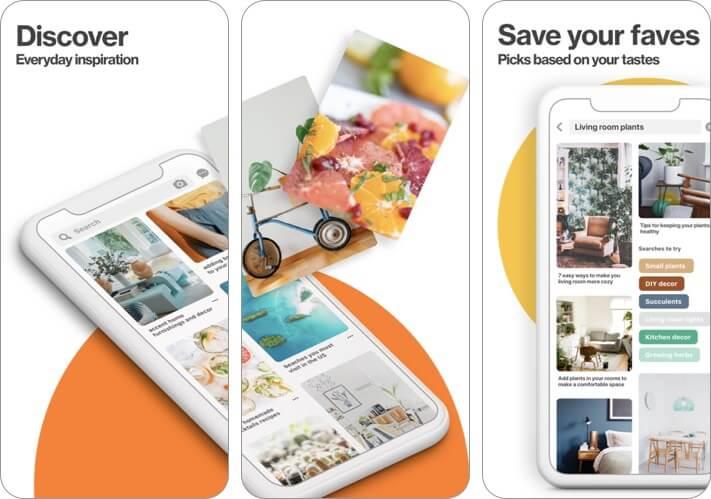 Screenshot der Pinterest-Blogging-App
