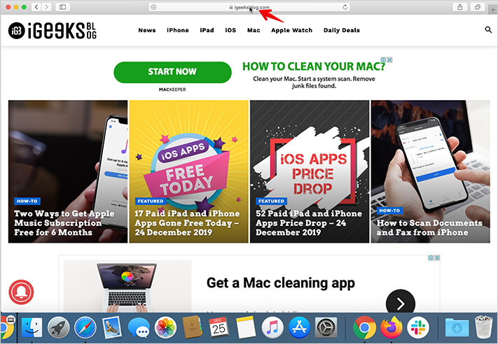 Place mouse pointer on website name in the address bar of Safari