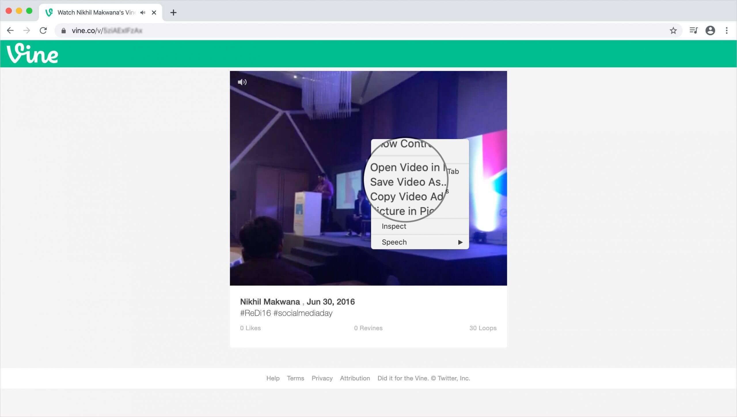 Place your mouse pointer on video and do right-click to save video from vine account