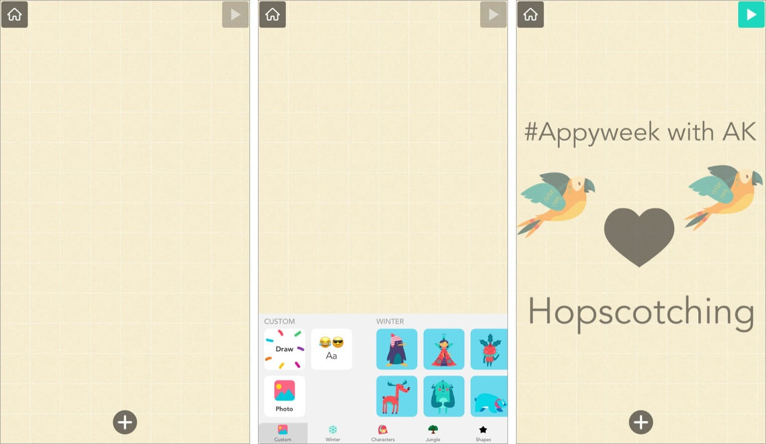 Plain graph-paper background in Hopscotch app for iPhone and iPad