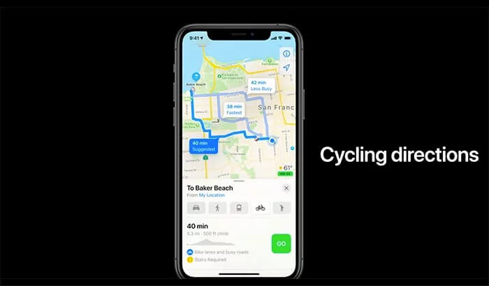 Plan Cycle Trip in Apple Maps on iPhone Running iOS 14
