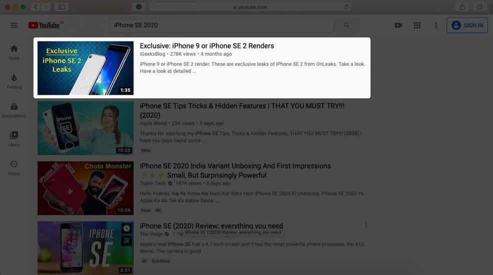 Play YouTube Video in Safari