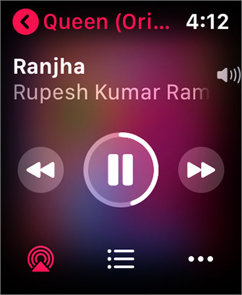 Playing Song in Music App on Apple Watch