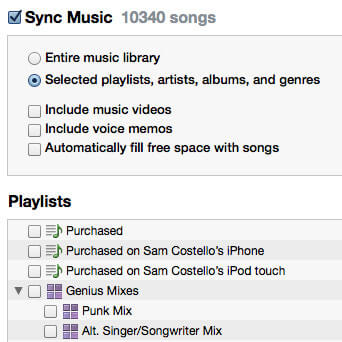 Playlist Sync on iTunes