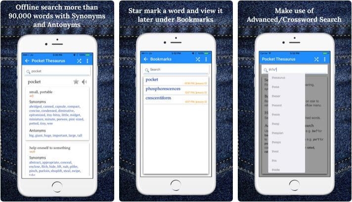 Pocket Thesaurus iPhone and iPad App Screenshot