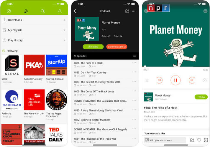 Podbean Podcast App & Player iPhone and iPad Podcast App Screenshot