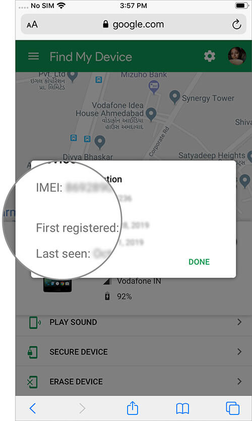 Popup will Show IMEI Number and Other Info of Android Device on iPhone