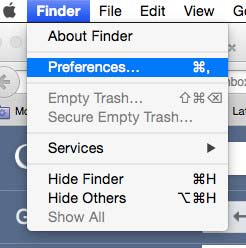 Preferences in Mac OS X Finder