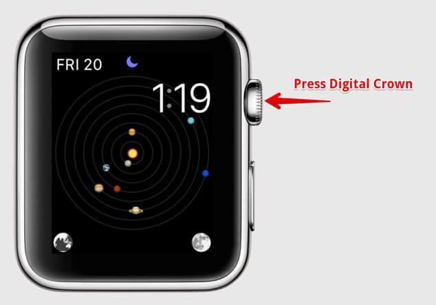Press Apple Watch Digital Crow to Return to Present