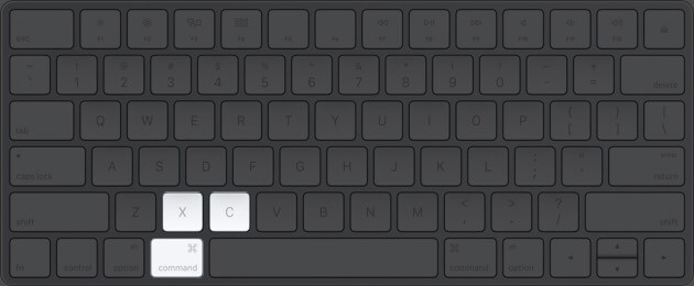 Press Command+C to copy or Command+X to cut on Mac keyboard