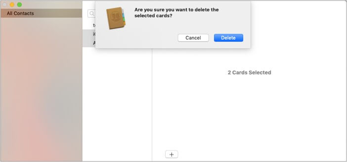 Press Delete button on Mac to delete multiple contacts from iPhone