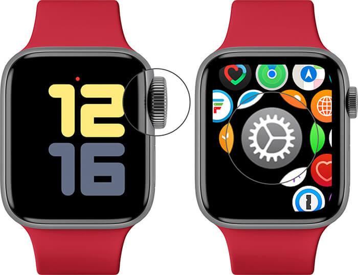 Press Digital Crown and Tap on Settings in Apple Watch