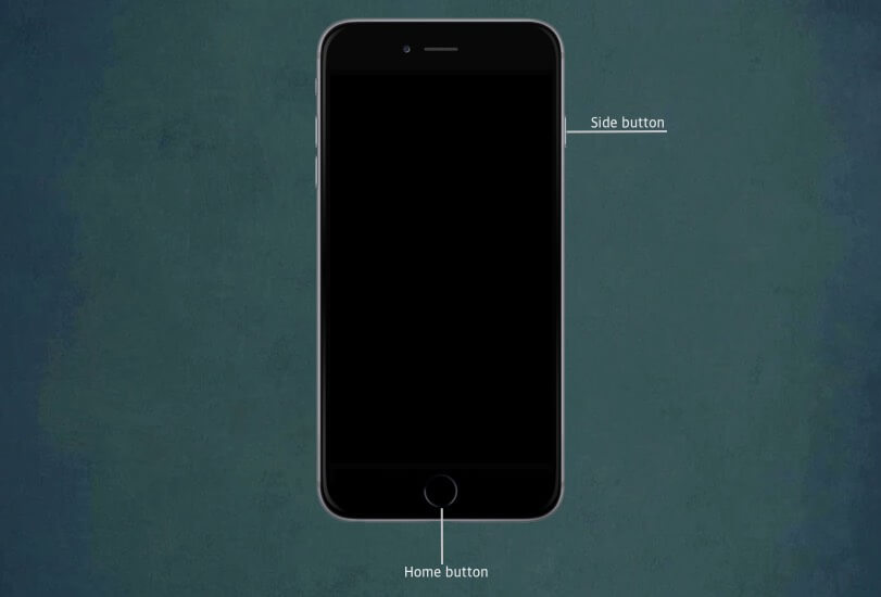 Press Home Button and Side Button Together on iPhone 6s
