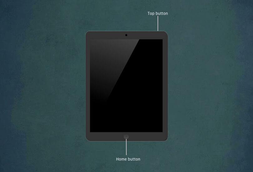 Press and Hold Home Button and Top Button on iPad