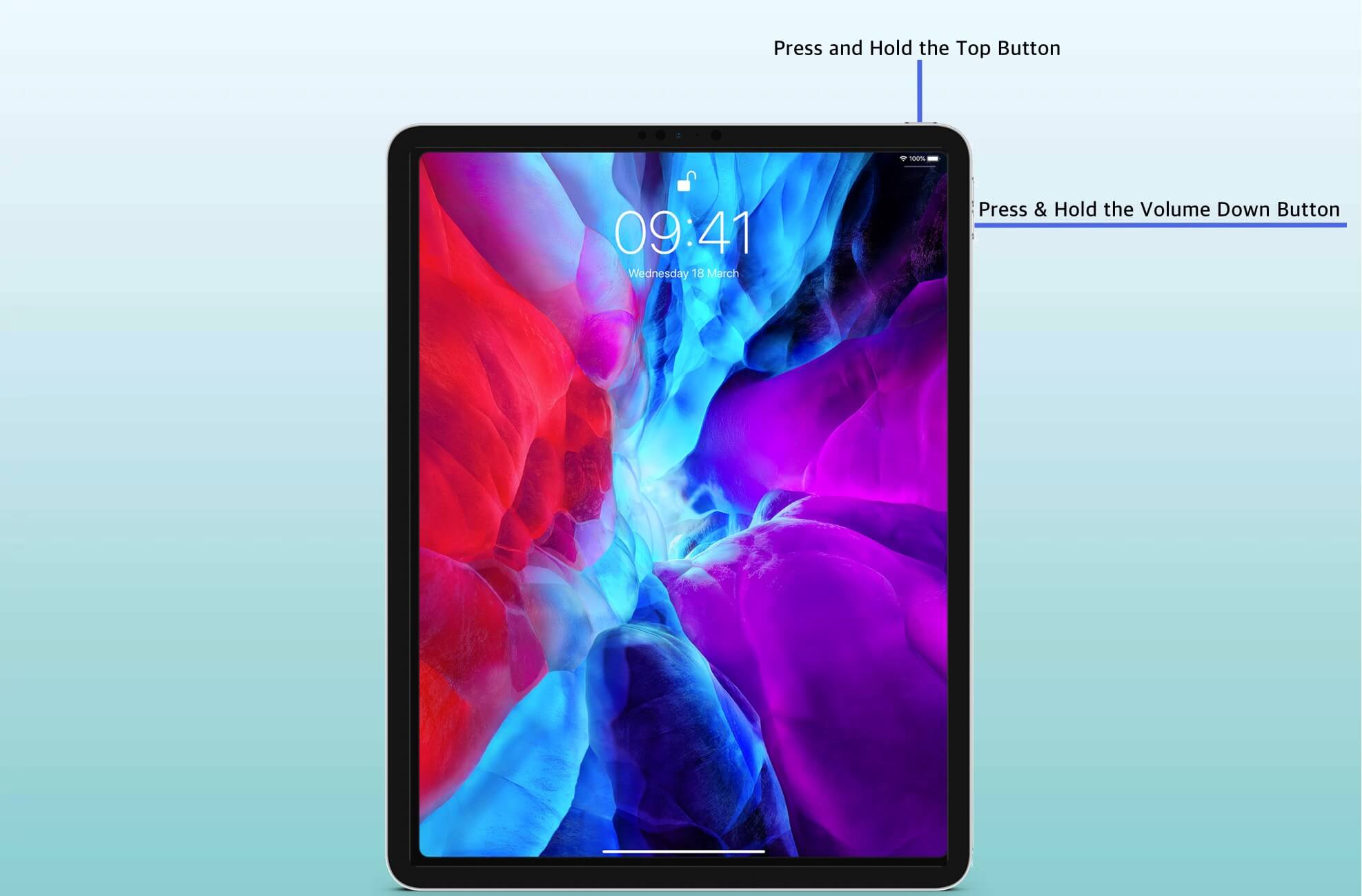 Press and Hold Top Button and Volume Down Button on iPad That has Face ID