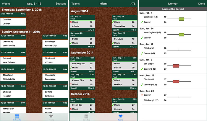 Pro Football Schedule and Scores iPhone and iPad NFL App Screenshot