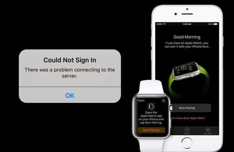 Problem Connecting to the Server Error During Apple Watch Setup