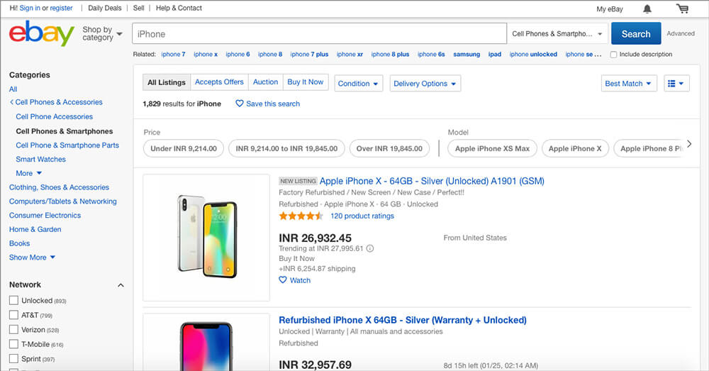 Purchase used and refurbished iPhones from eBay