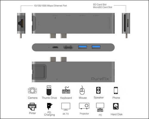Purefix USB C Multiport Adapter for Macbook Pro