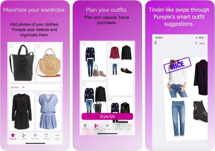 Pureple Outfit Planner Digital Closet iOS App Screenshot