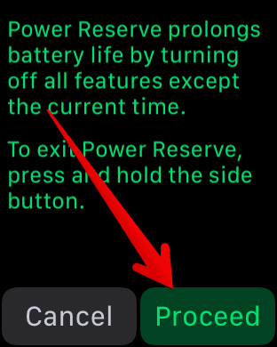 Put Apple Watch into Power Reserve Mode