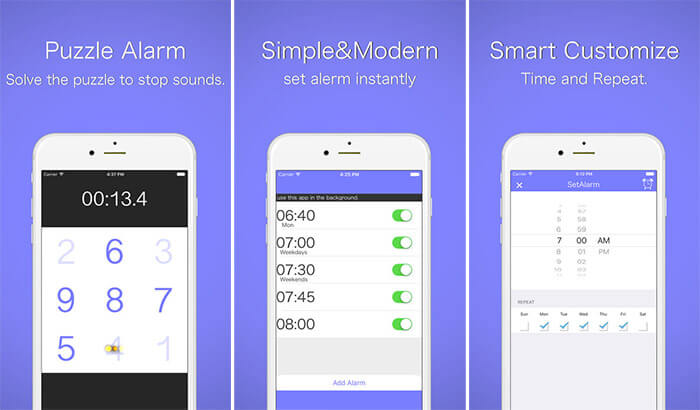 Puzzle Alarm Clock iPhone and iPad App Screenshot