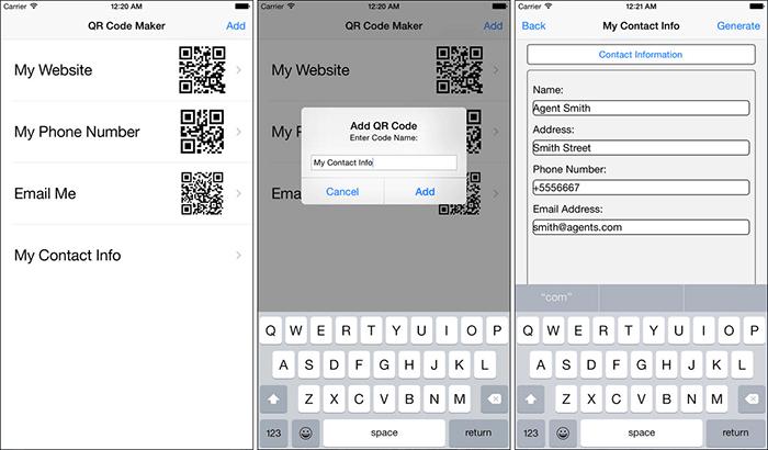 QR Code Maker iPhone App Screenshot