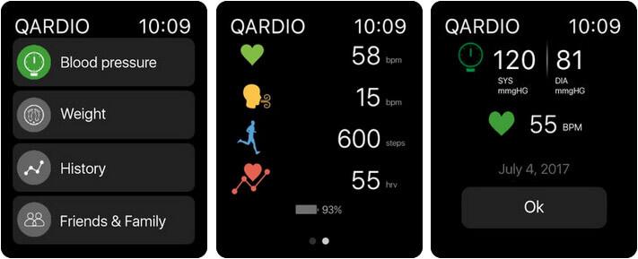 Qardio heart health Apple Watch App Screenshot