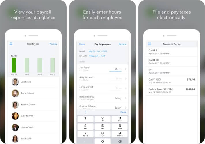QuickBooks Payroll iPhone and iPad App Screenshot