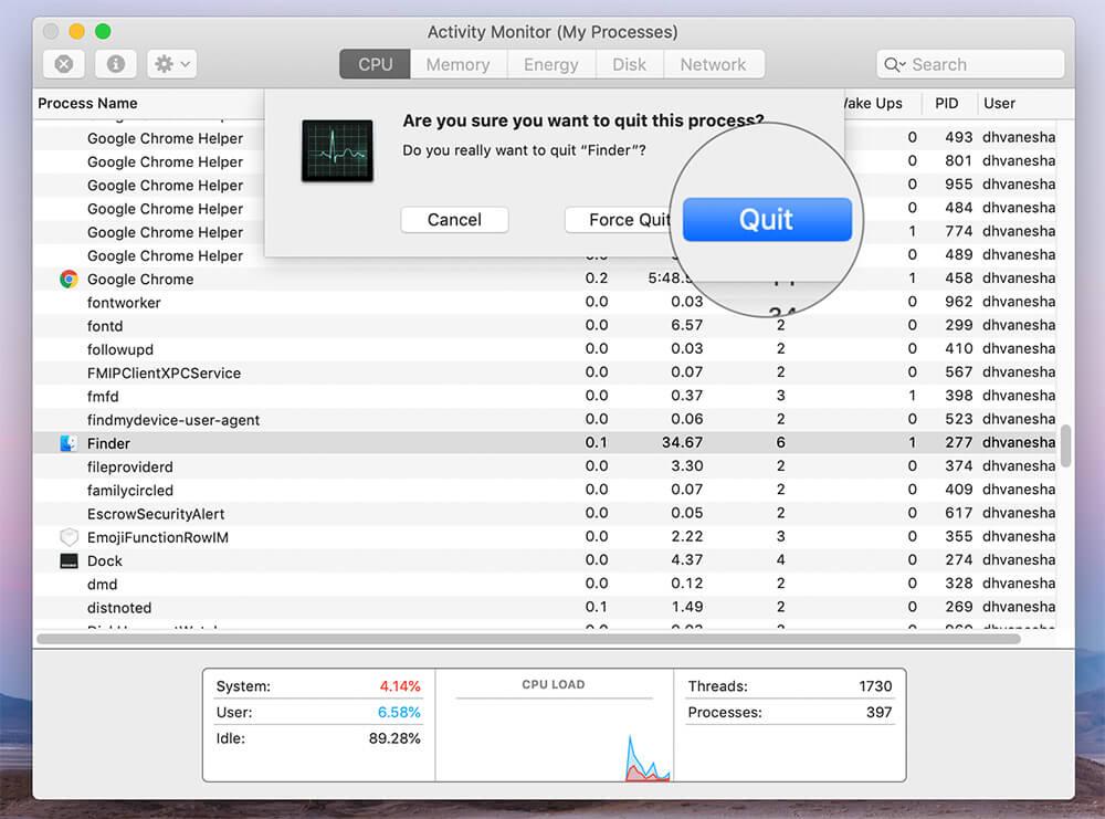 Quit Finder Using Mac Activity Monitor app