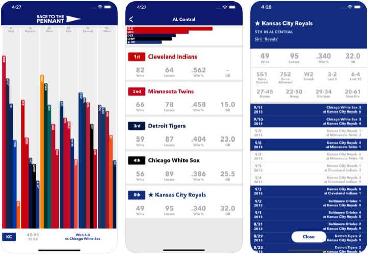 Race to the Pennant iPhone and iPad Baseball App Screenshot