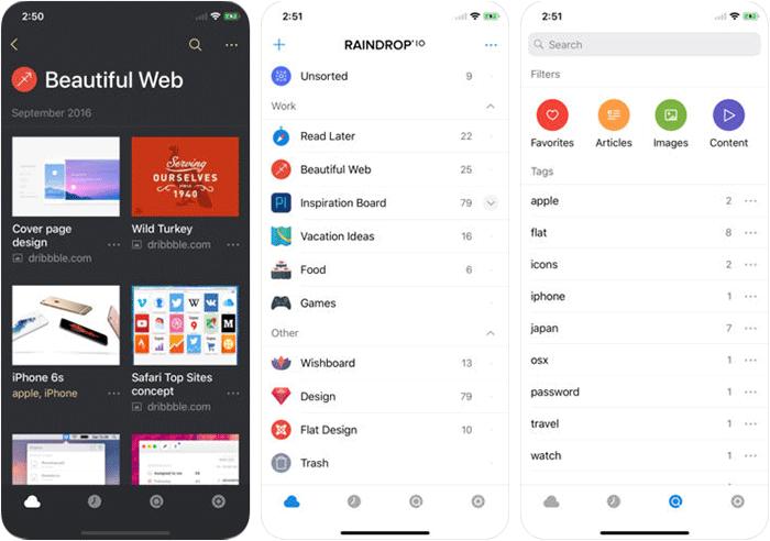 Raindrop.io iPhone and iPad Read it later App Screenshot