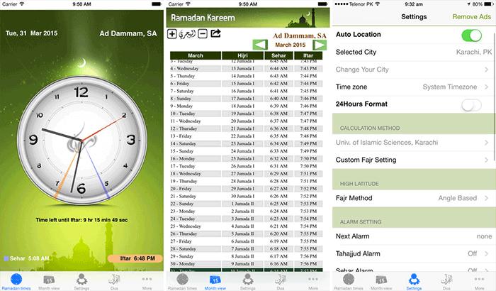 Ramadan Times Azan iPhone and iPad App Screenshot