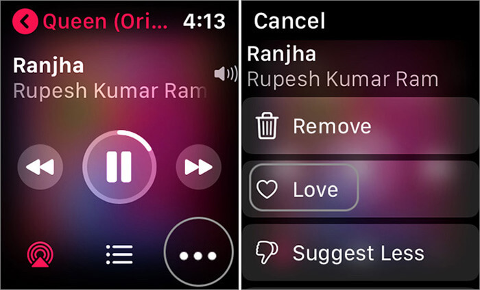 Rate Song with Stars in Apple Music on Apple Watch