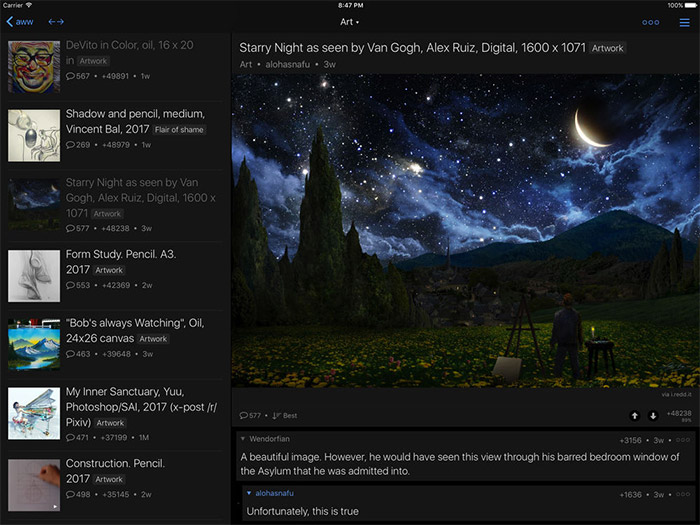 Readder for Reddit iPad App Screenshot