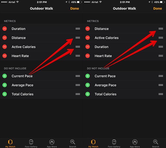 Rearrange Metrics in Workout in Apple Watch