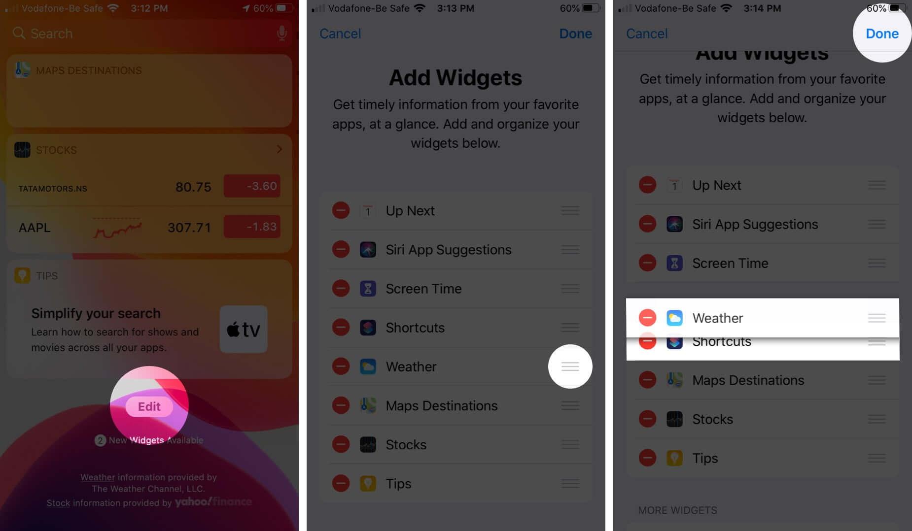 Rearrange Widgets on iPhone