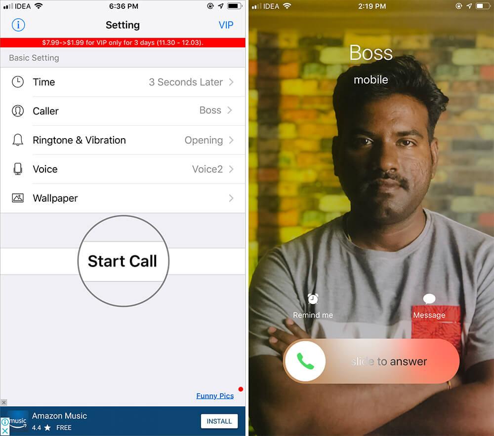 Receive Fake Calls Using iPhone Fake Call Plus App