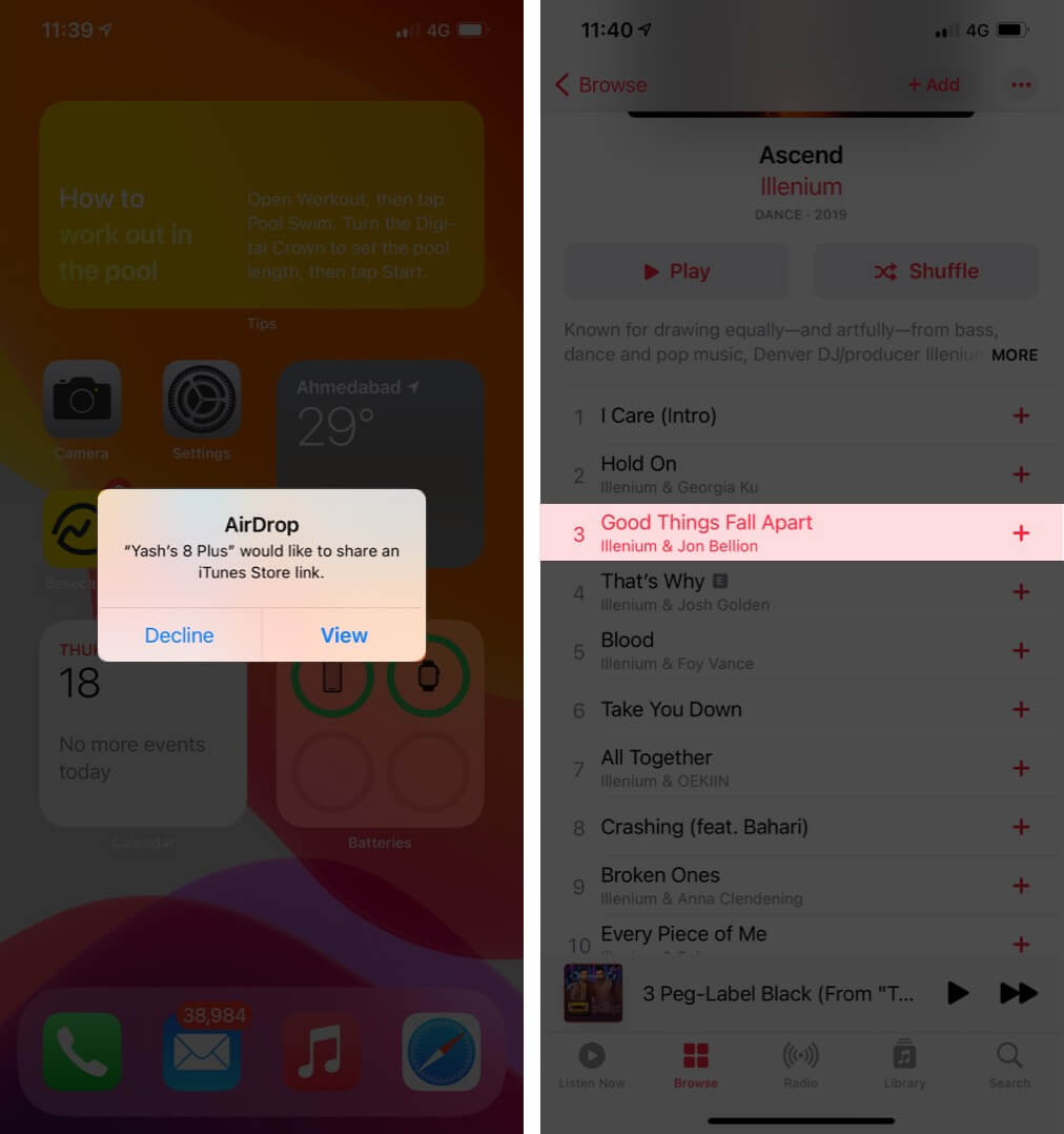 Receiver can tap on it and be redirected to the Music app