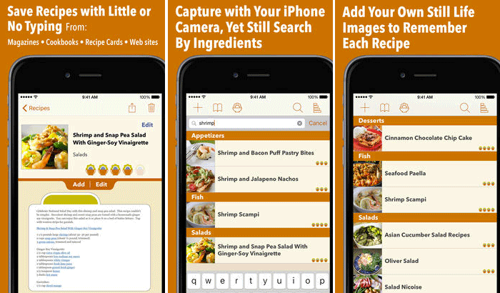 Recipe Gallery iPhone and iPad App Screenshot