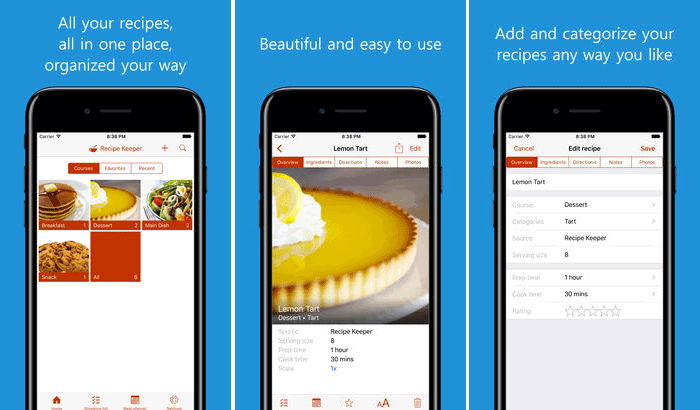 Recipe Keeper iPhone and iPad App Screenshot