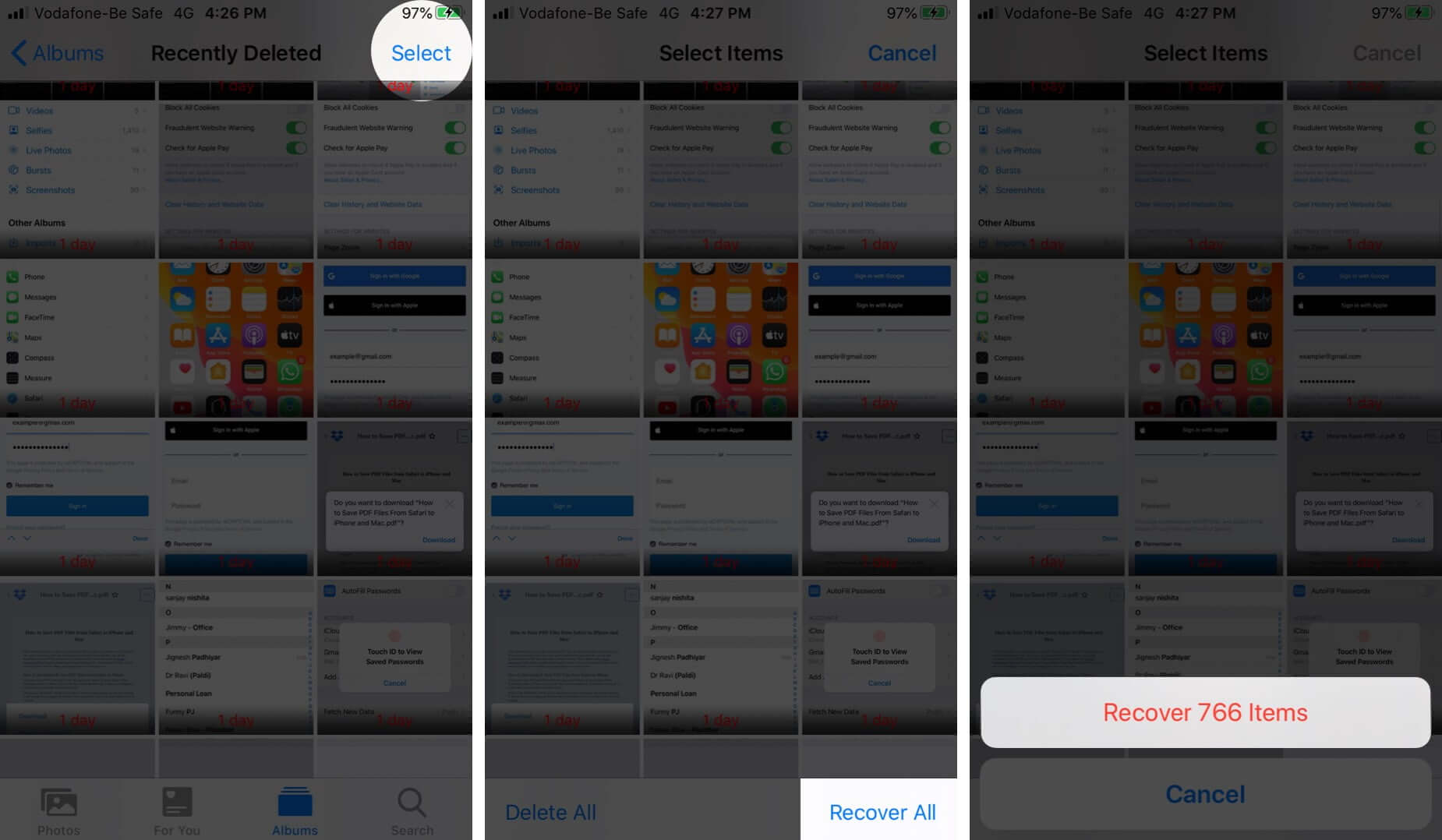 Recover All Photos from Recently Deleted Folder on iPhone