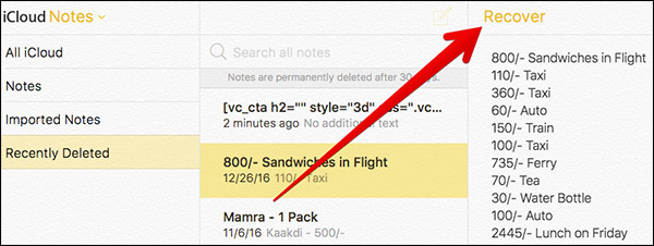 Recover Deleted Notes in iCloud on Mac or Windows PC