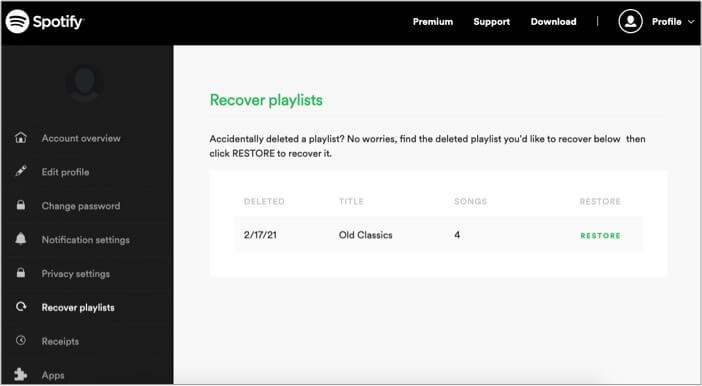 Recover deleted playlistsin Spotify app