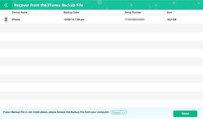 Recover iPhone Text Message from iTunes