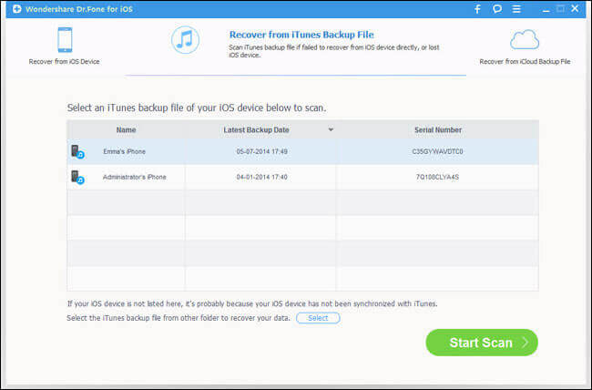 Recover iTunes Backup using Dr.Fone Software