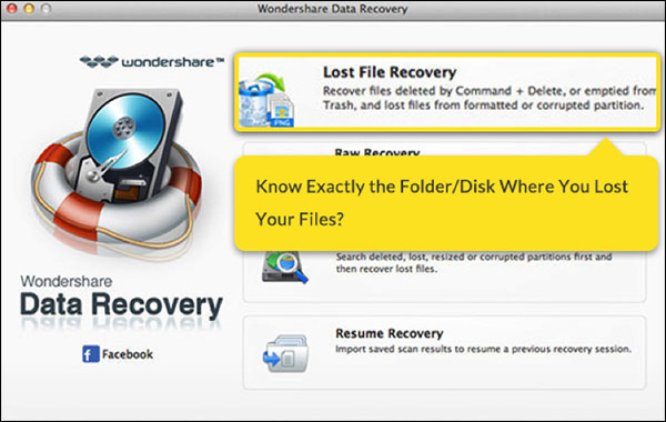 Recover lost files using Wondershare data recovery for Mac